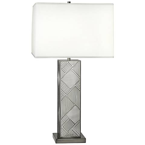 Lloyd Blackened Nickel over White Lacquered Metal Table Lamp