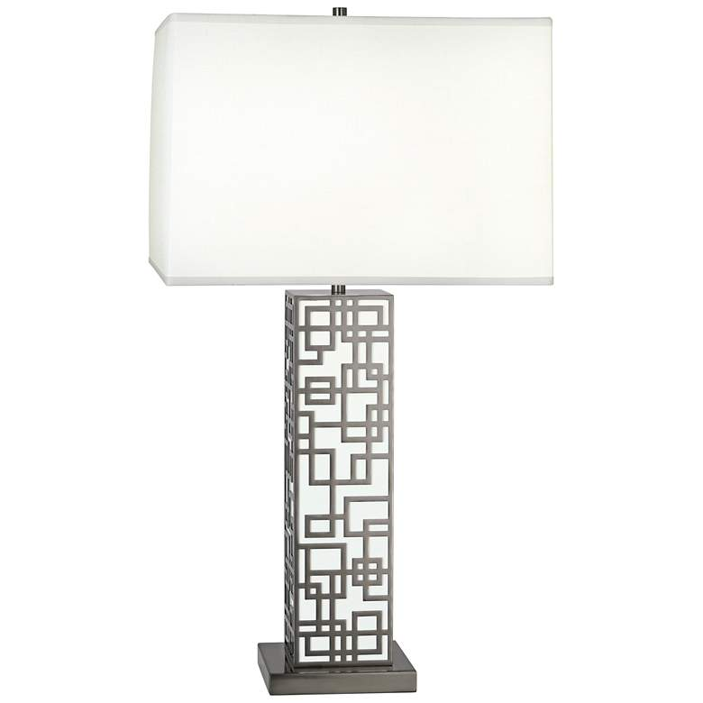 Lloyd Blackened Nickel over White Lacquered Table Lamp