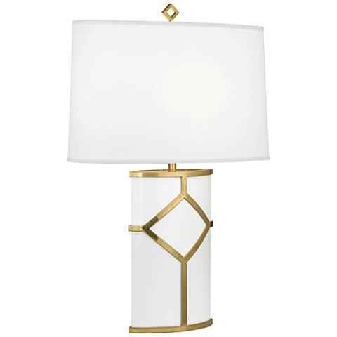 Diamond White Lacquer and Modern Brass Table Lamp