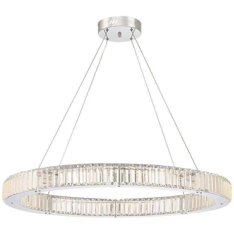 """Possini Euro Vesta 35 1/2"""" Wide Chrome LED Pendant Light"""