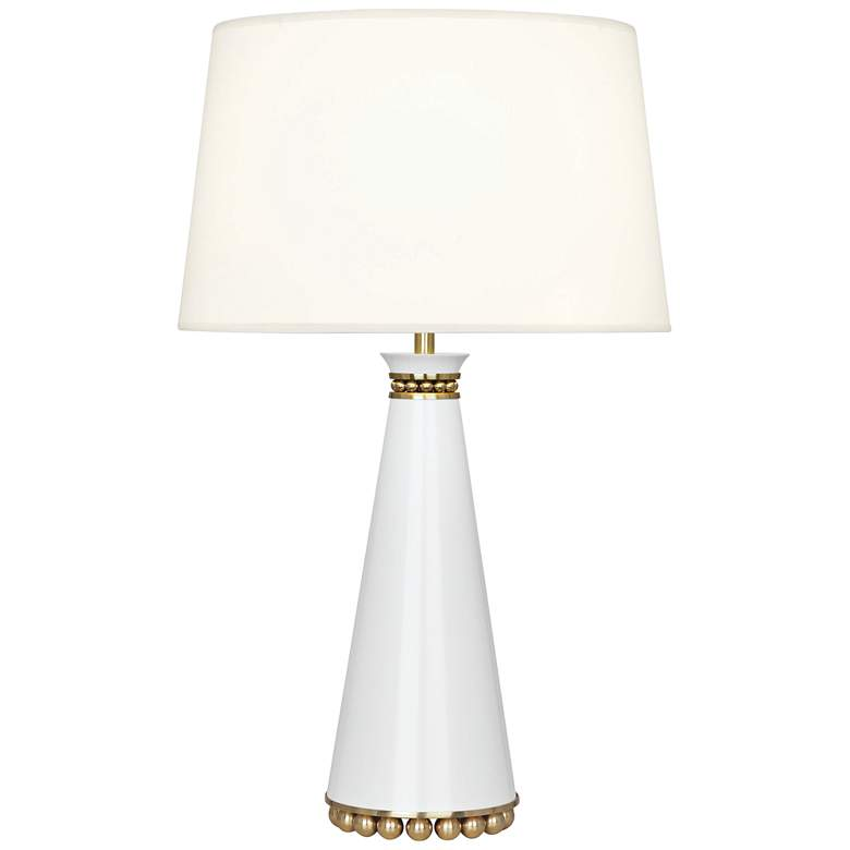 Pearl Lily and Modern Brass Table Lamp with Fondine Shade