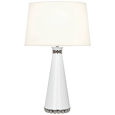 Pearl Lily and Polished Nickel Table Lamp with Fondine Shade