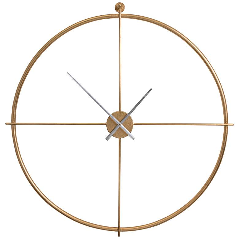 "Cooper Classics Pine Gold Leaf 39"" Wide Metal Wall Clock"