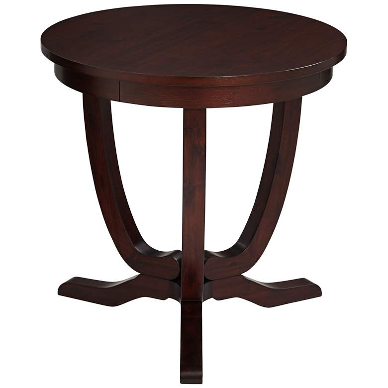 "Nash 24"" Wide Mahogany Round Accent Table"