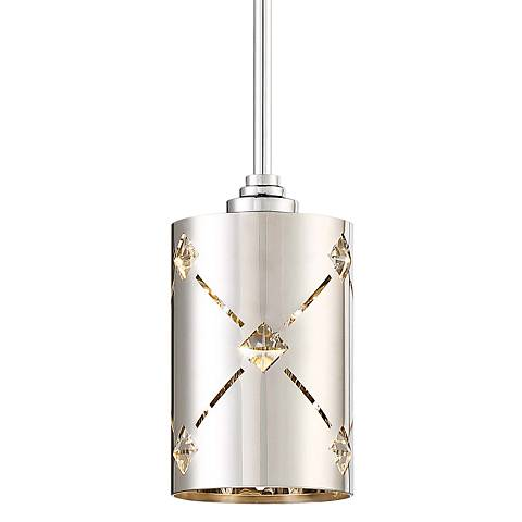 "George Kovacs Crowned 4 1/2"" Wide Chrome LED Mini Pendant"