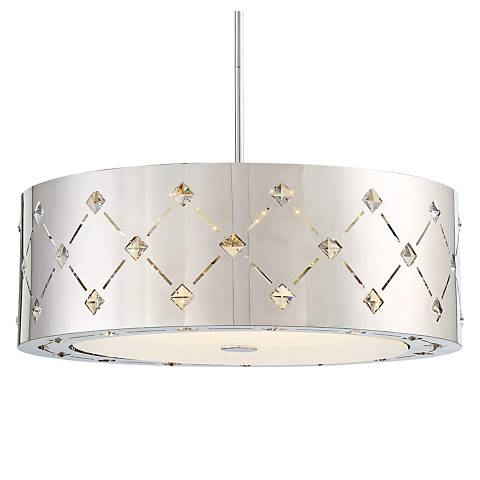 "George Kovacs Crowned 22 1/4"" Wide Chrome LED Pendant Light"