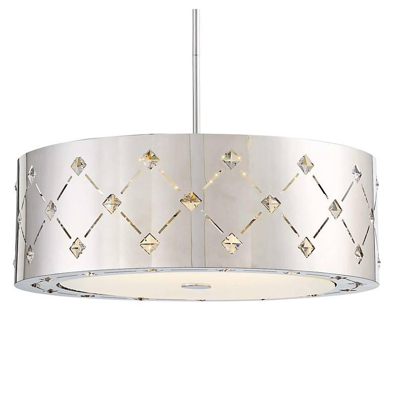 "George Kovacs Crowned 22 1/4"" Wide Chrome LED Pendant Light"
