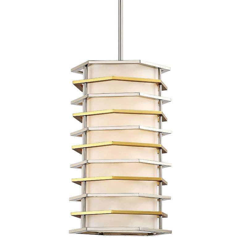 """Levels 10""""W Polished Nickel and Honey Gold LED Mini Pendant"""