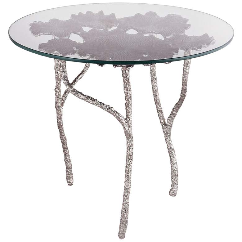 """Victoria 24"""" Wide Flower and Branch Glass Side Table"""