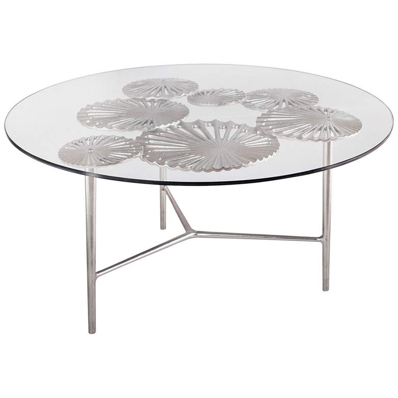 """Victoria 36"""" Wide Flower and Branch Glass Coffee Table"""
