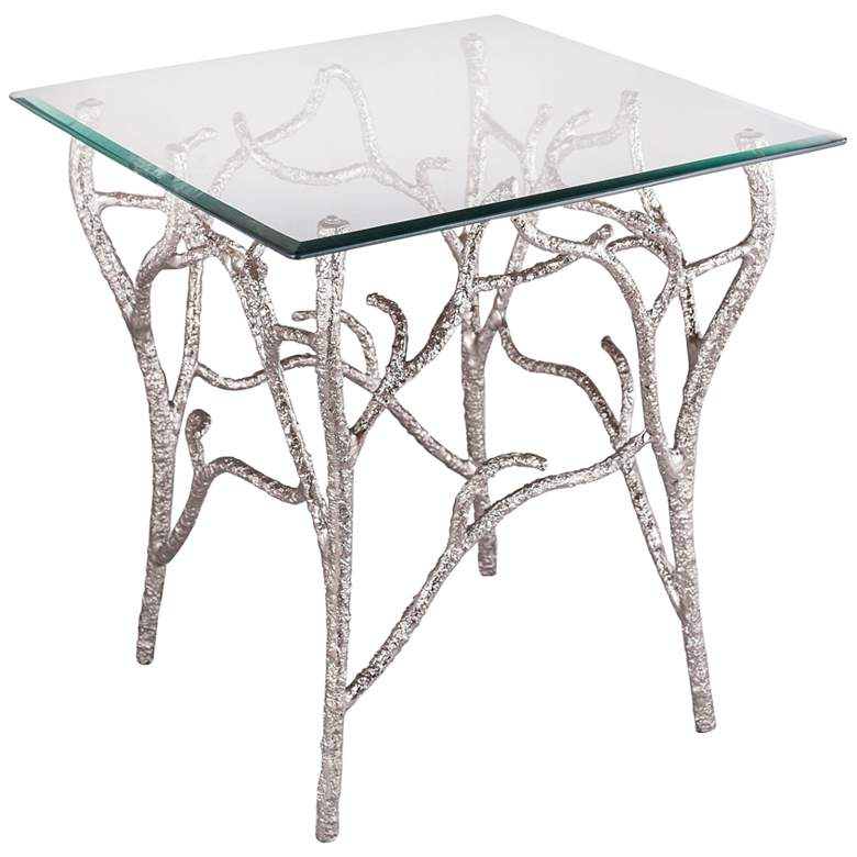 """Metropolitan 23"""" Wide Glass and Nickel Branches Side Table"""