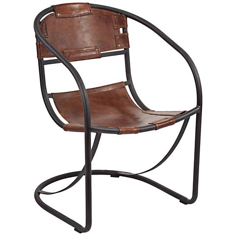 Retro Tobacco Leather Retro Round Back Lounger