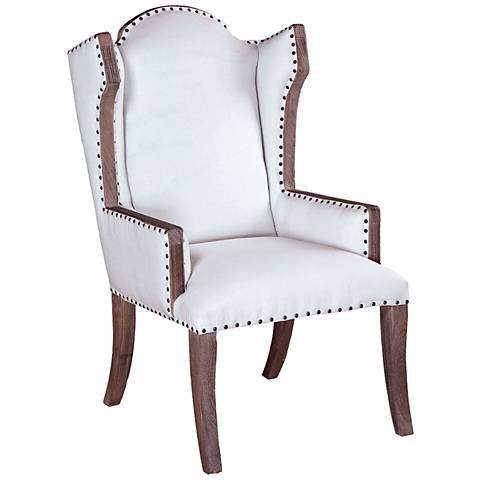 Sandel White Linen Library Armchair