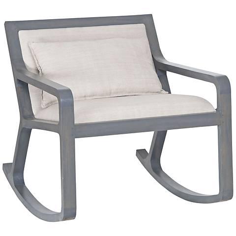 Braden Linen Fabric and Antique Smoke Accent Rocker Chair