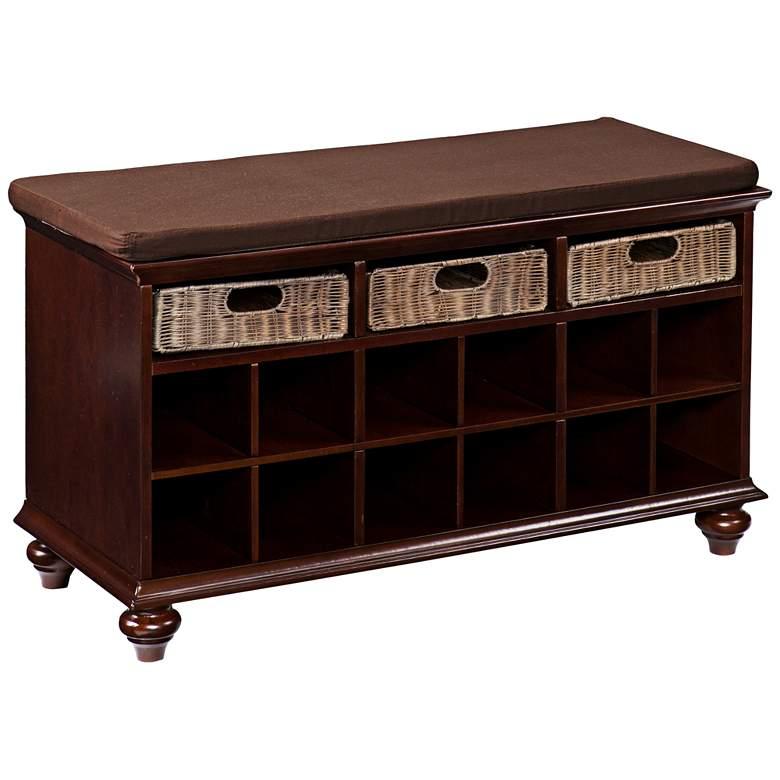 Charlie Warm Espresso Wood Shoe Storage Bench
