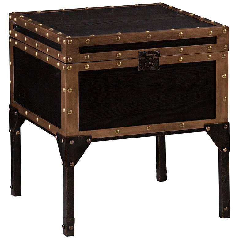 "Trek 20 3/4"" Wide Antique Black Travel Trunk End Table"