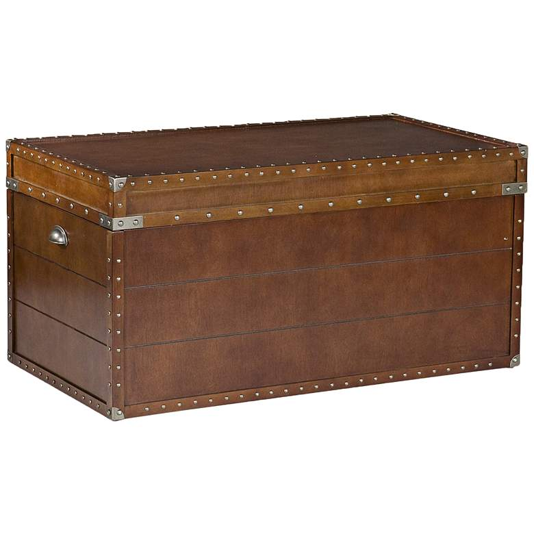 """Captain 39"""" Wide Walnut Wood Storage Trunk Cocktail Table"""