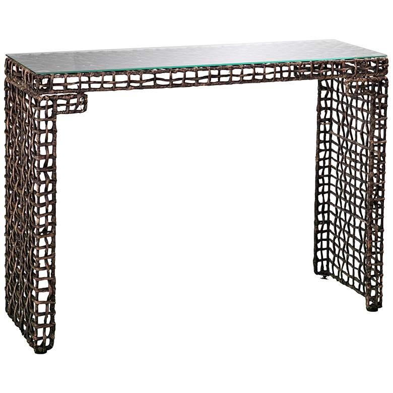"Joni 39 1/2"" Wide Blackwash Brown Rectangular Console Table"