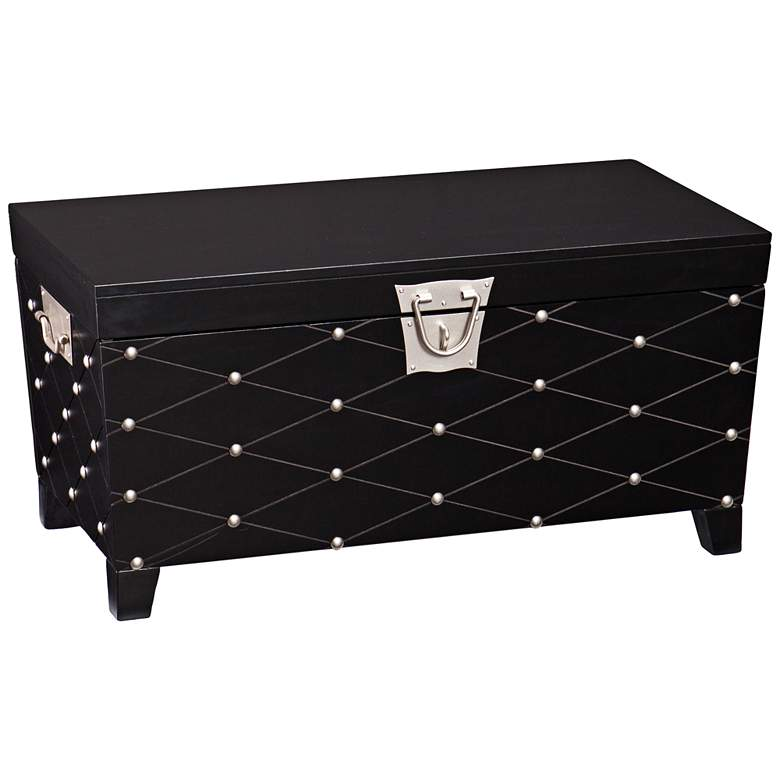 "Anastasia 38 3/4"" Wide Black Wood Trunk Cocktail Table"