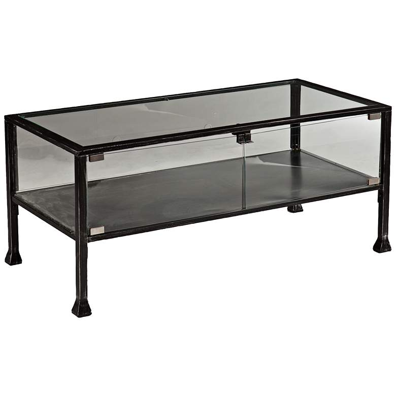 """Terrance 42 1/2"""" Wide Metal and Glass Cocktail Display Table"""