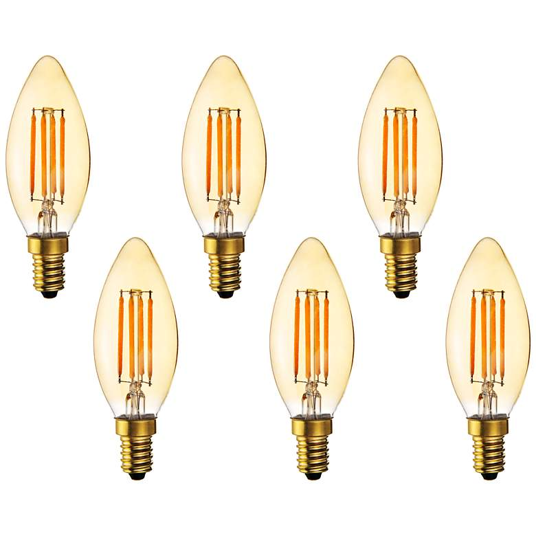 40W Equivalent 4W LED Dimmable Filament Candelabra 6-Pack