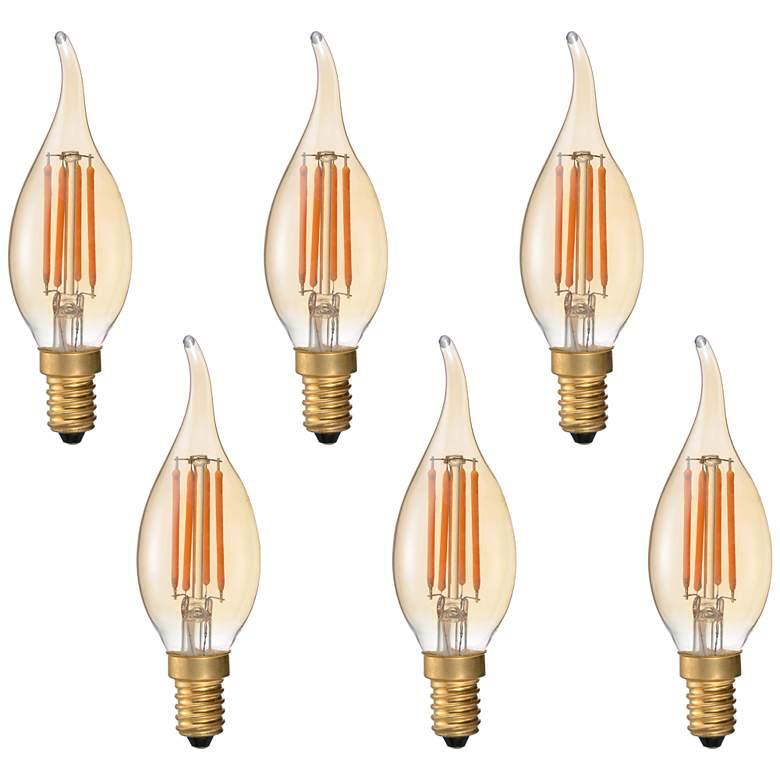 40W Equivalent Amber 4 Watt LED Flame Tip Candelabra 6-Pack