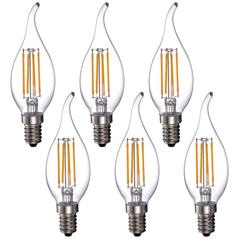 40W Equivalent 4W LED Dimmable Flame-Tip Candelabra 6-Pack