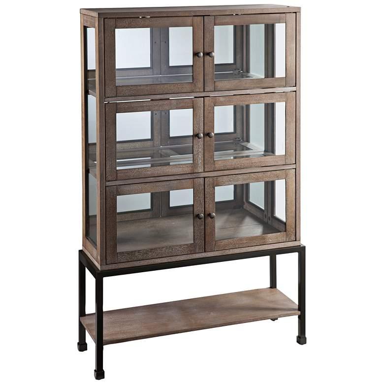 "Brace 36 1/4"" Wide Burnt Oak and Glass Lighted Curio Cabinet"