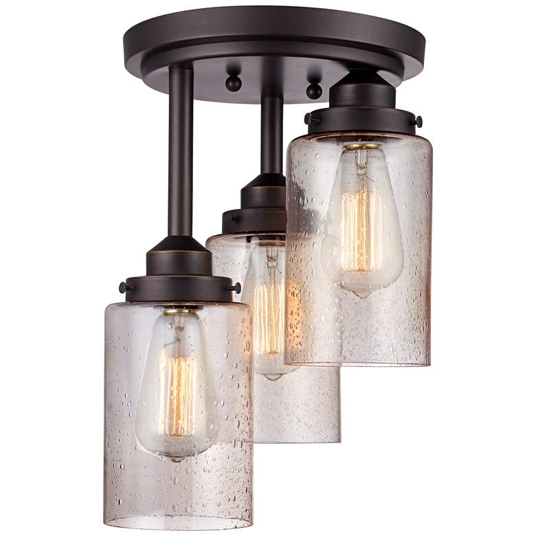 """Libby 9 1/2"""" Wide Oil-Rubbed Bronze LED Ceiling Light"""