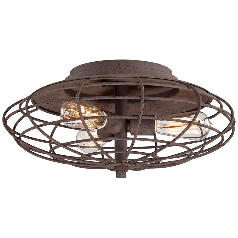 """Industrial Cage Dark Rust 18 1/2""""W LED Ceiling Light Fixture"""
