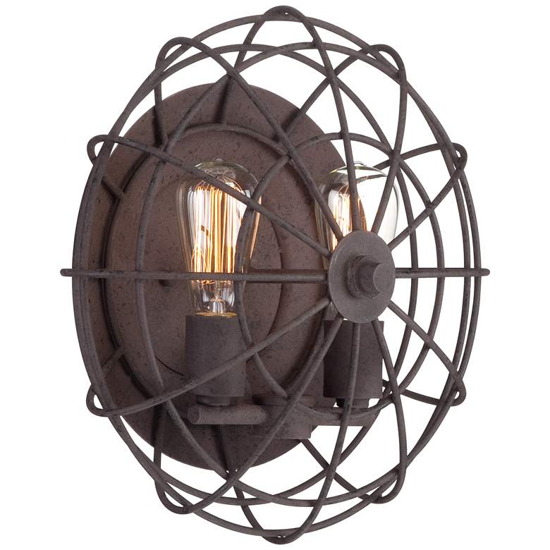 """Industrial Cage 14"""" High Dark Rust 2-Light LED Wall Sconce"""