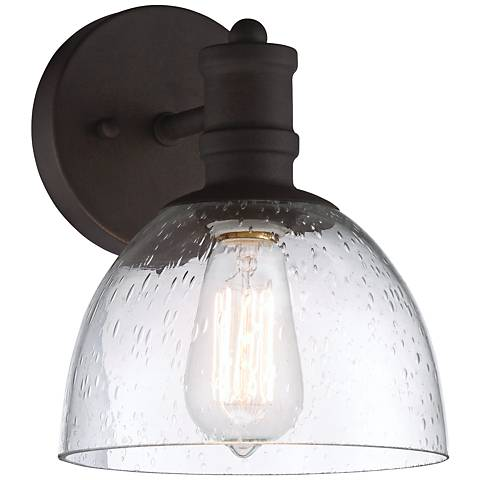 """Bleecker Industrial 9 1/4""""H Bronze Wall Sconce with LED Bulb"""