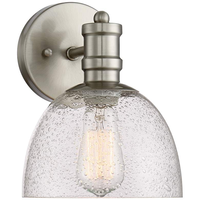 """Bleecker Industrial 9 1/4""""H Brushed Nickel LED Wall Sconce"""