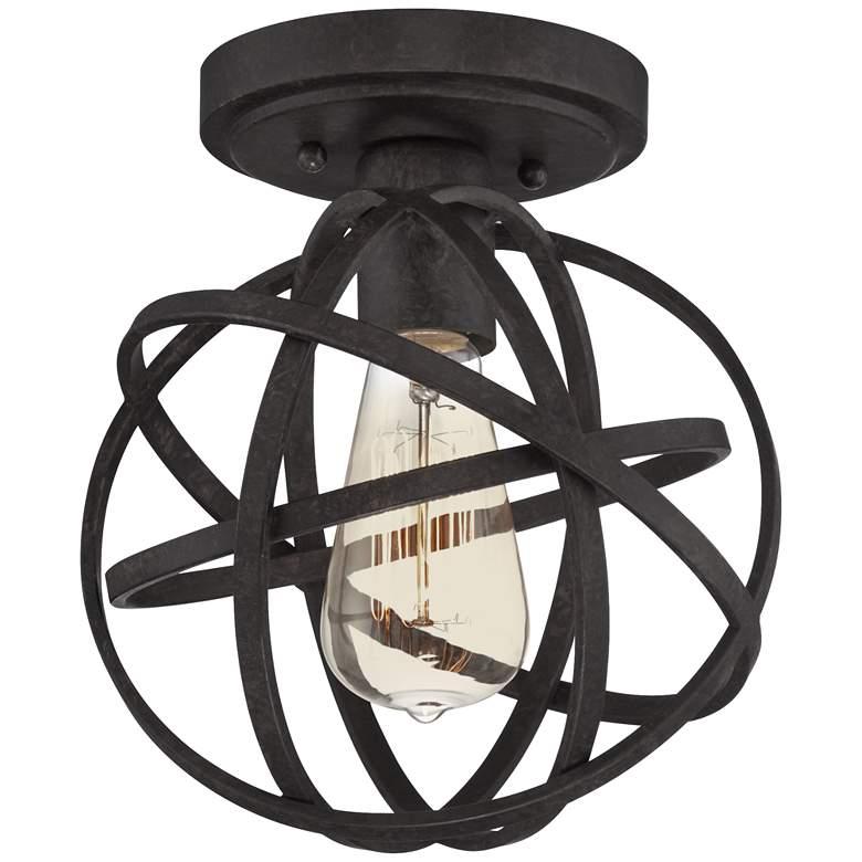 "Industrial Atom 8"" Wide Edison Black LED Ceiling Light"
