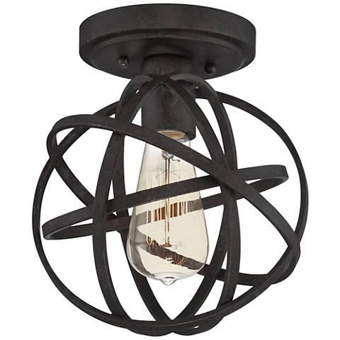 "Industrial Atom 8"" Wide Edison Bronze LED Ceiling Light"