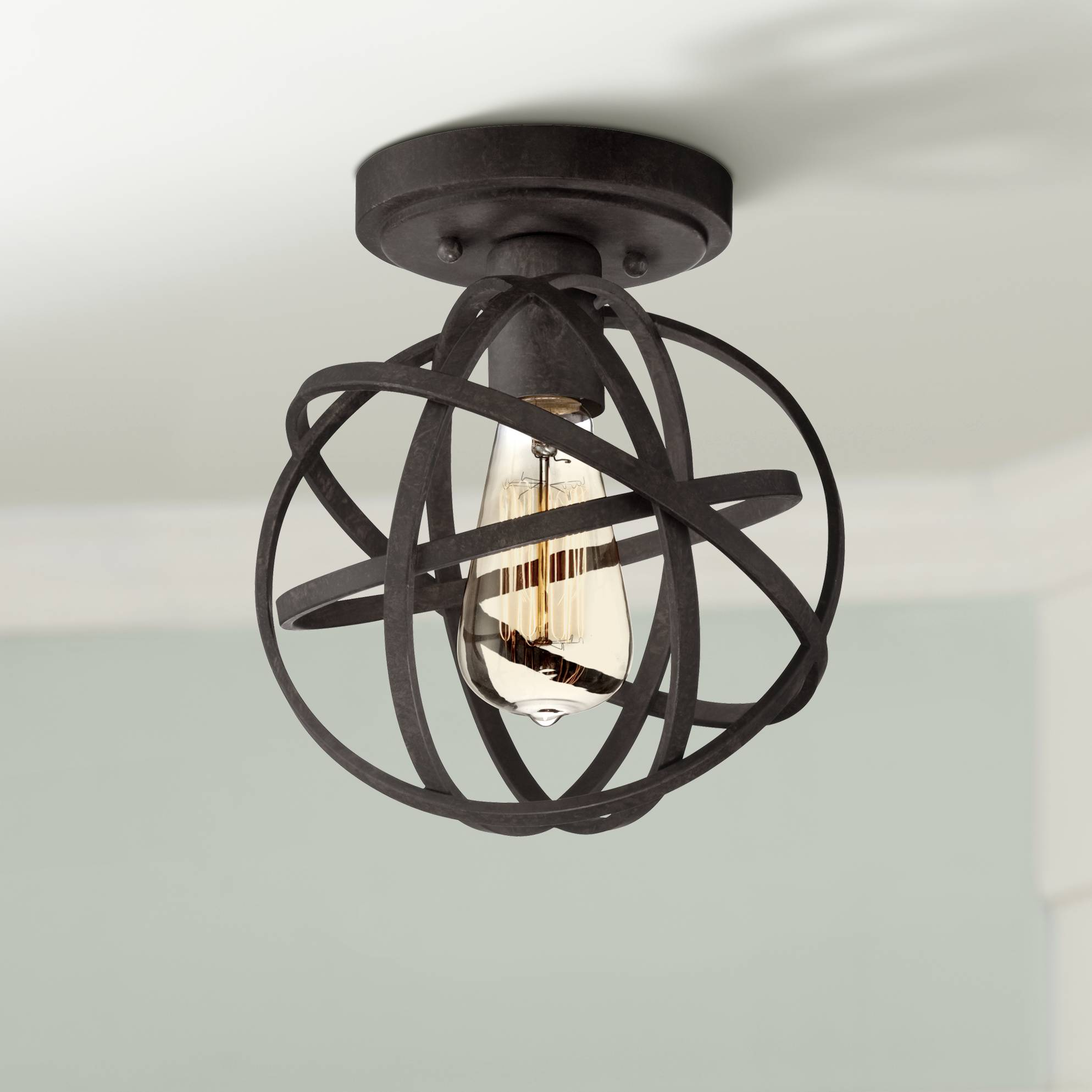 new arrival 9136a 5e73b Details about Industrial Ceiling Light Semi Flush Mount Fixture LED Atomic  Black 8