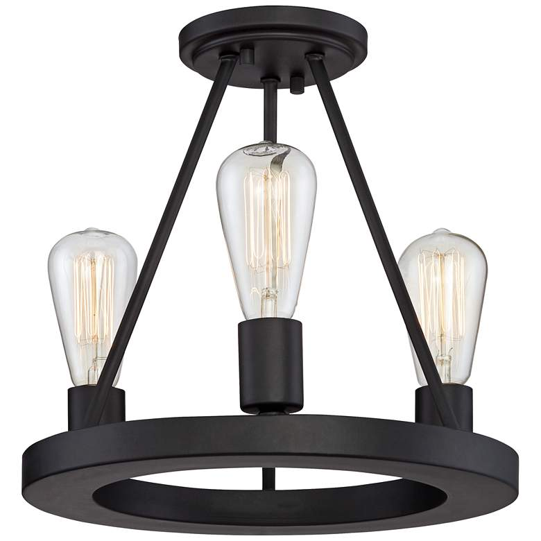 "Lacey 13"" Wide Black Ceiling Light with LED Edison Bulbs"