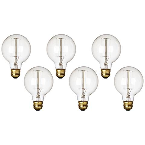 Clear 60 Watt Standard G25 Edison Style Light Bulb 6-Pack