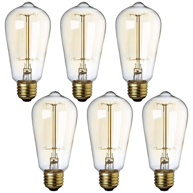 Tesler 40W Standard Edison Style Tinted Light Bulb 6-Pack