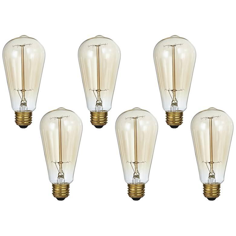 Tesler Clear 60 Watt Standard Edison Style Light Bulb 6-Pack