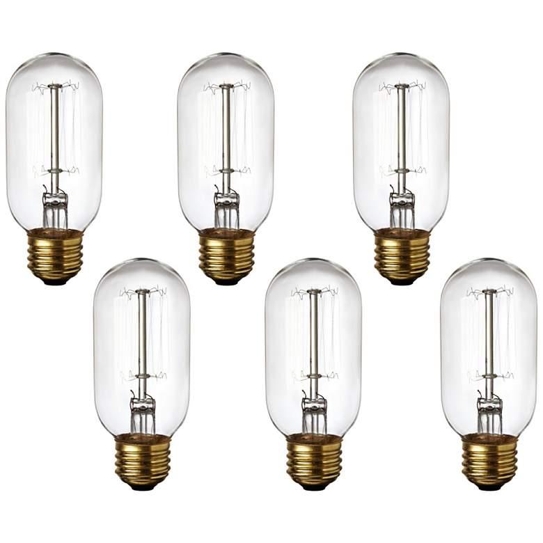 Clear Edison Style 60 Watt Standard T14 Light Bulb 6-Pack