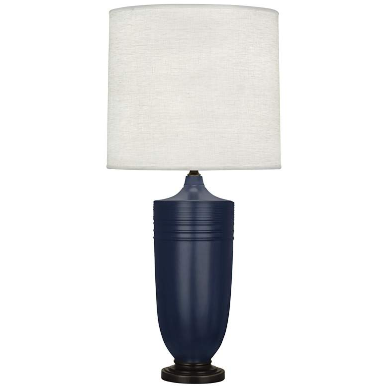 Hadrian Matte Midnight Blue and Patina Bronze Table Lamp