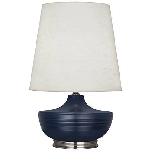 Nolan Matte Midnight Blue and Dark Antique Nickel Table Lamp