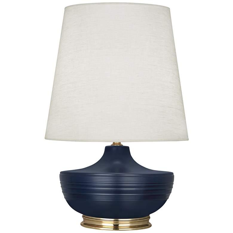 Nolan Matte Midnight Blue and Modern Brass Table