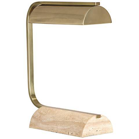Robert Abbey Julian Modern Brass and Travertine Desk Lamp