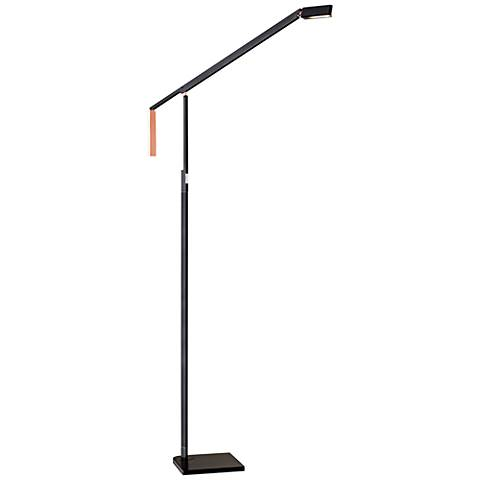 Lazzaro Black and Copper Adjustable LED Floor Lamp