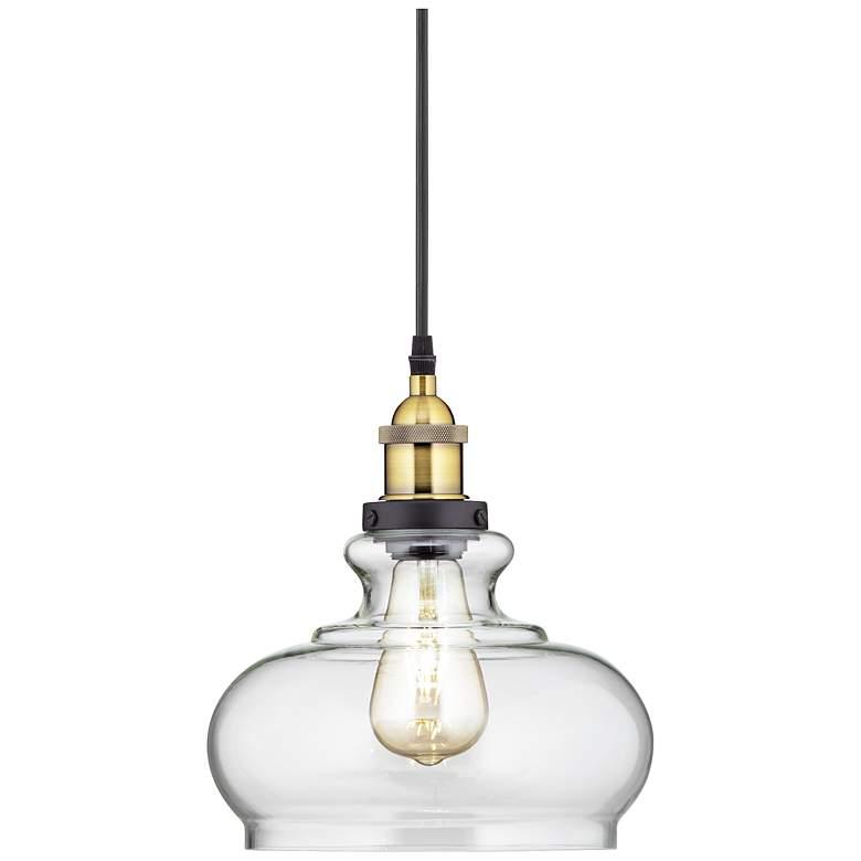 """Possini Euro Gorton 9 1/2"""" Wide Black LED Mini Pendant"""