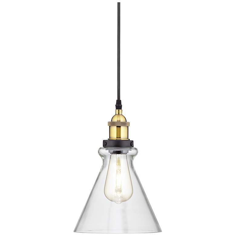 """Possini Euro Poulsbo 8"""" Wide Black LED Mini Pendant"""