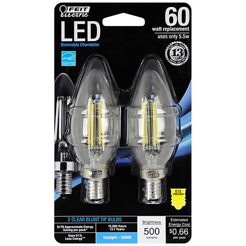 60W Equivalent 5.5W LED E12 Torpedo Bulb 2-Pack