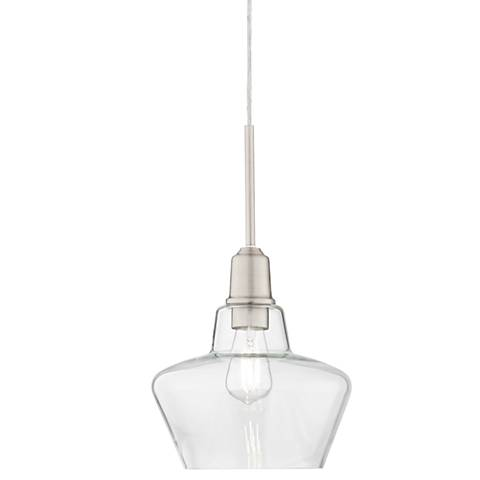 """Madoc 9 1/2"""" Wide Nickel and Clear Glass LED Mini Pendant"""